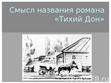 "Презентация на тему ""Значение пейзажа в романе «Тихий дон ..."