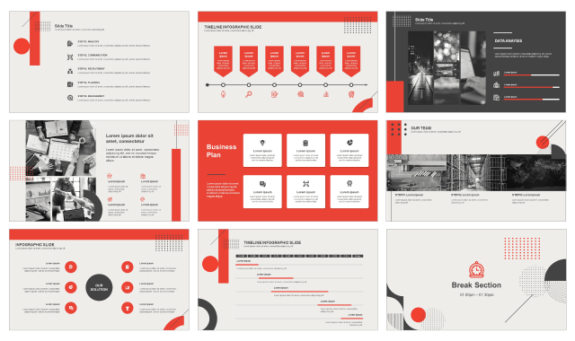 Red And Black Report Free Ppt Template And Free Google