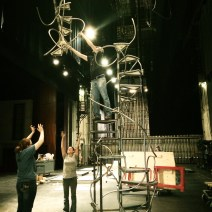 After the staircase was finished, it had to be sectioned into three separate pieces in order to fit into the shipping container. We were able to take it apart and put it together in Indiana University's Ruth N. Halls side stage.