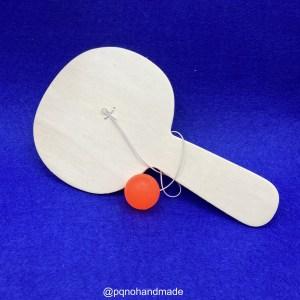 Raqueta pala de madera natural para pintar y jugar manualidades