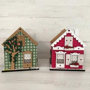 casa de madera con arbol