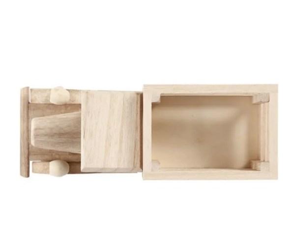 Camión de madera natural para pintar y jugar desde arriba manualidades