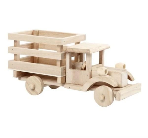 Camión de madera natural para pintar y jugar manualidades