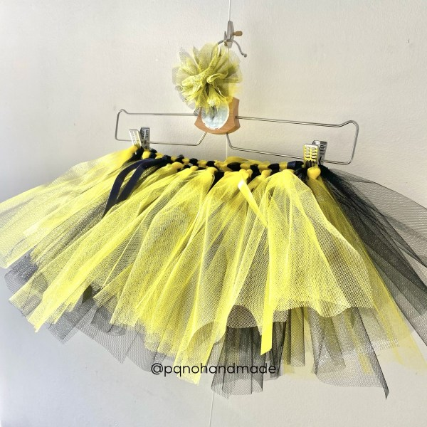falda tul amarillo negro