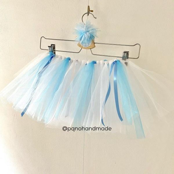 falda tul blanca azul claro