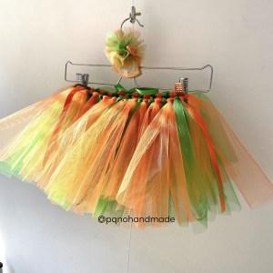 falda tul naranja verde