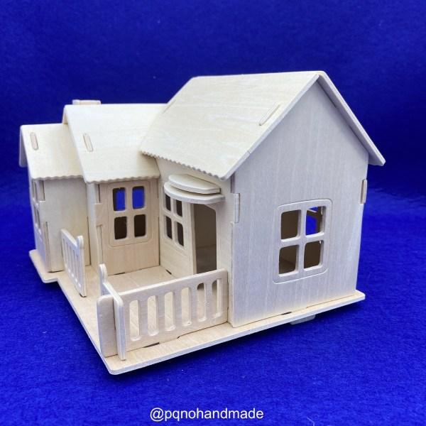 Casa porche suelo cerrado madera natural para para montar 3D y pintar lado manualidades