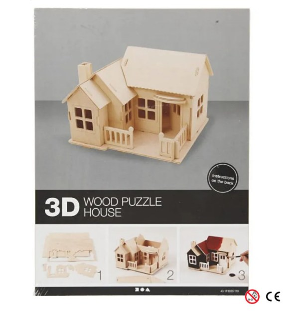 Casa porche suelo cerrado madera natural para para montar 3D y pintar manualidades paquete