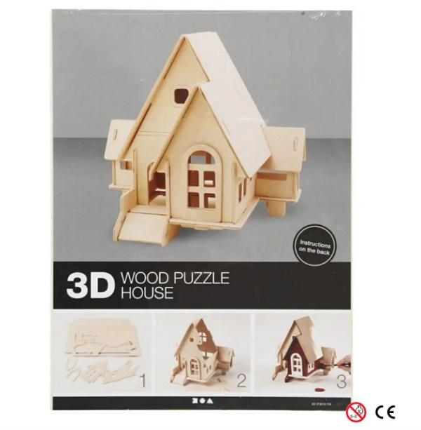 Casa una planta suelo abierto madera natural para para montar 3D y pintar manualidades paquete