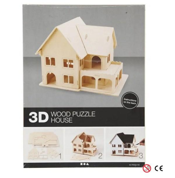 casa dos plantas balcon suelo abierto madera natural para pintar y montar 3D paquete