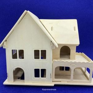 casa dos plantas balcon suelo abierto madera natural para pintar y montar 3D