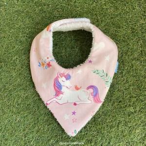 bandana babero babas unicornio tela algodon artesanal