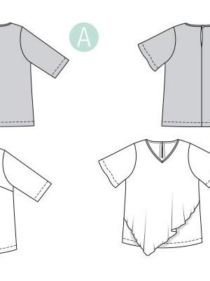 Выкройка Burda  6307 — Удлиненная блузка с драпировкой