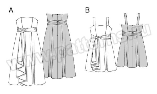 Выкройка Burda №6548 — Вечернее и свадебное платье