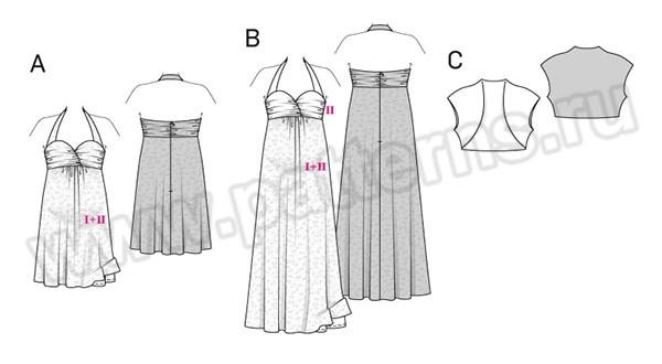 Выкройка Burda №6557 — Вечернее платье для будущей мамы, Болеро