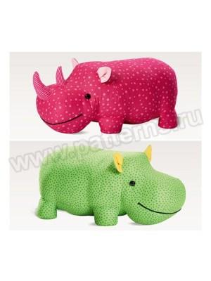 Выкройка Burda №6560 — Мягкие игрушки: Бегемот и Носорог