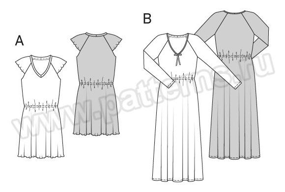 Выкройка Burda №6743 — Ночная рубашка