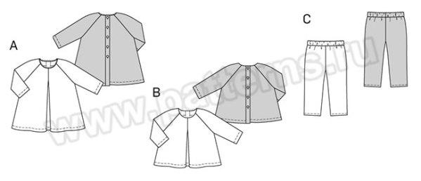 Выкройка Burda №9348 — Платье, Рубашка, Брюки