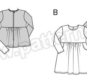 Выкройка Burda №9350 — Блуза, Платье