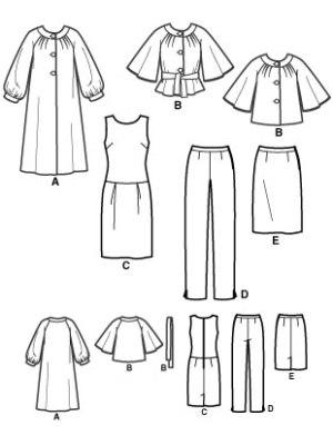 Выкройка Simplicity №3631 — Комплект: платье, брюки, юбка, пальто