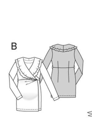 Выкройка Burda  6957 — Одежда для беременных: платье с запахом, туника с запахом