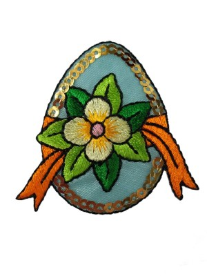 Пасхальное яйцо с бантом и пайетками, термоаппликация Mono Quick