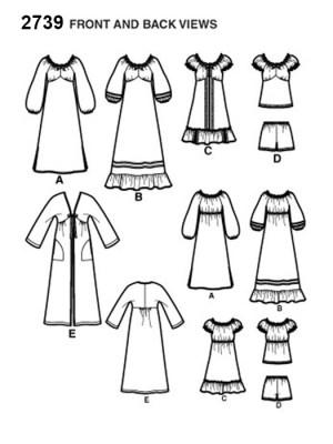 Выкройка Simplicity  2739 — Домашнее платье, ночная рубашка, халат, пеньюар