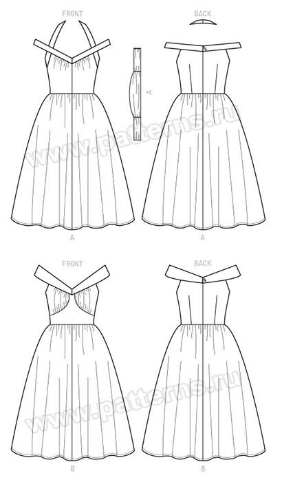 Выкройка McCall's — Стиль 1957: Платье с расклешенной юбкой - M7748