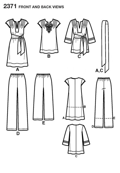 Выкройка Simplicity — Домашний костюм, Платье - S2371 ()