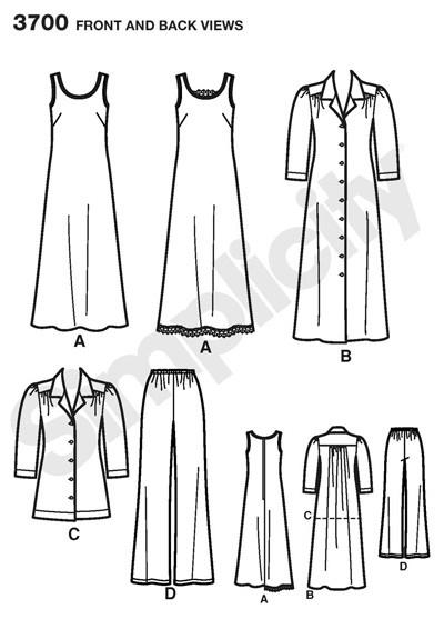 Выкройка Simplicity — Джемпер, Платье, Брюки - S3700 ()