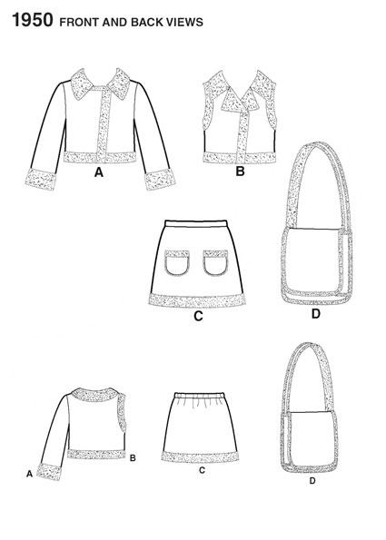 Выкройка Simplicity — Юбка, Жилет, Жакет, Сумка - S1950
