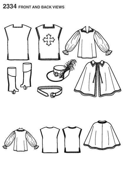 """Выкройка Simplicity — Карнавальный костюм """"Мушкетер"""" - S2334 ()"""