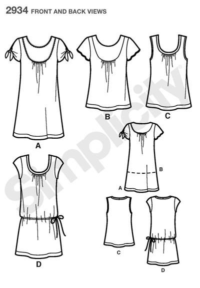 Выкройка Simplicity — Платье или Туника, Топ - S2934 ()