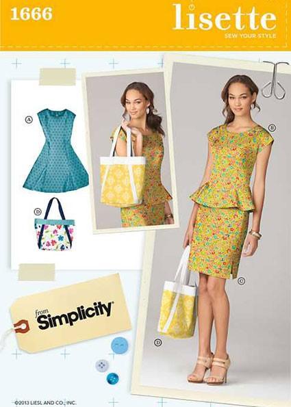Выкройка Simplicity — Платье, Топ, Юбка, Сумка - S1666 ()