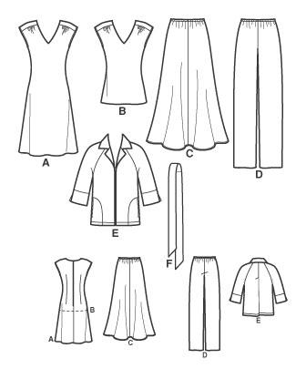 Выкройка Simplicity — Платье, Топ, Жакет, Юбка, Брюки - S3506 ()