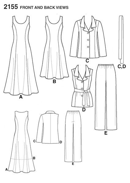 Выкройка Simplicity — Платье, Жакет, Жилет, Брюки - S2155
