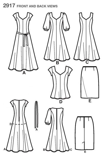 Выкройка Simplicity — Топ, Платье, Юбка - S2917