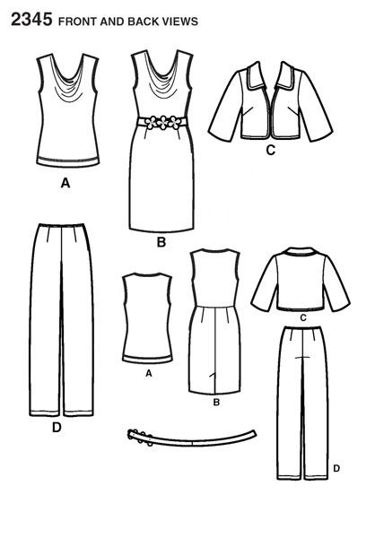 Выкройка Simplicity — Топ, Платье, Жакет, Брюки - S2345 ()