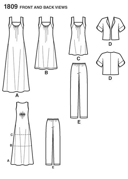 Выкройка Simplicity — Топ, Сарафан, Жакет, Брюки - S1809 ()