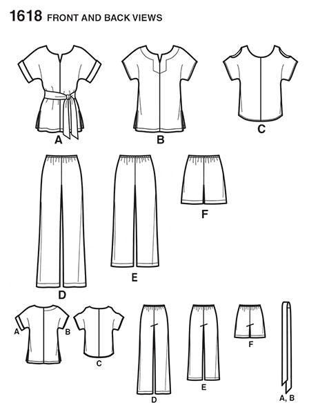 Выкройка Simplicity — Топ, Туника с поясом, Шорты, Брюки - S1618 ()