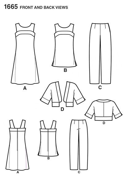 Выкройка Simplicity — Туника, Короткий жакет, Платье, Брюки - S1665 ()