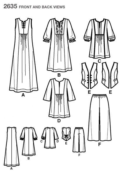 Выкройка Simplicity — Туника, Жилет, Платье, Брюки - S2635 ()