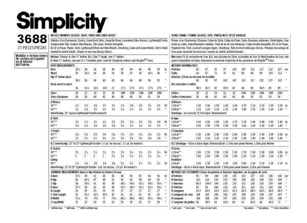 Выкройка Simplicity — Женский костюм - S3688
