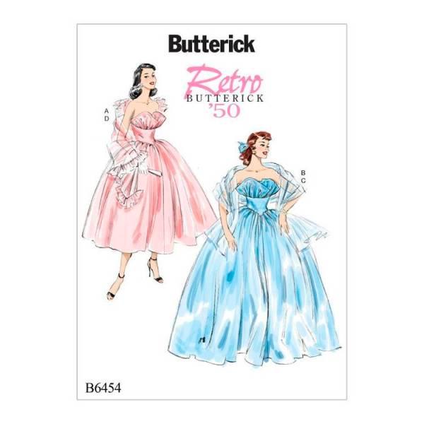 Выкройка Butterick — Ретро 1950: Вечернее платье и Палантин - B6454 - 6-14
