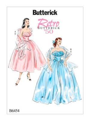 Выкройка Butterick №6454 — Ретро 1950: Вечернее платье и Палантин - 6-14