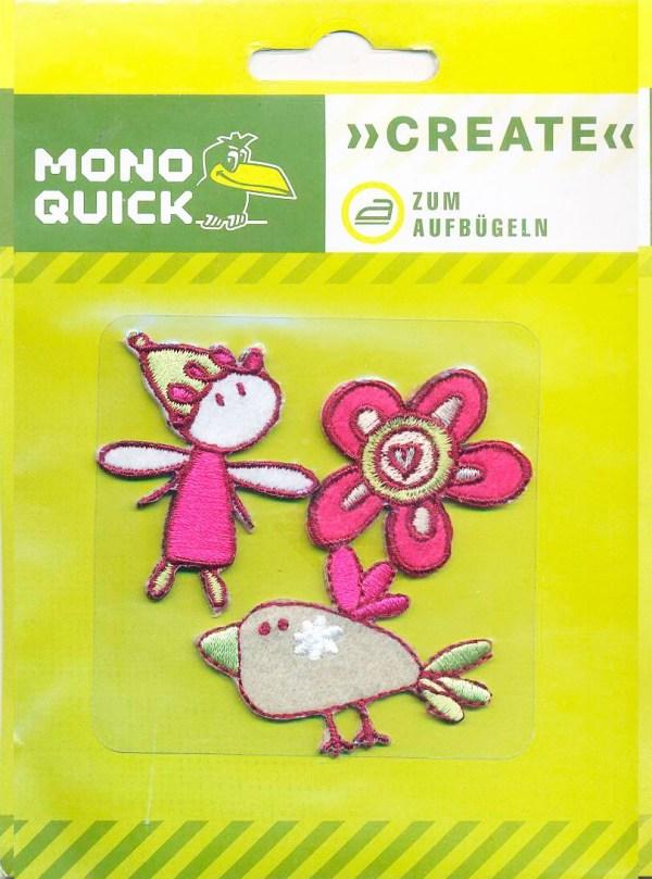 Термоаппликация Mono Quick (16116) – Девочка, птичка, цветок