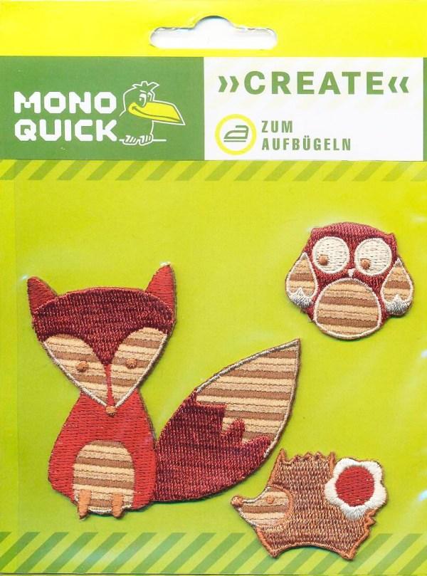 Термоаппликация Mono Quick (16126) – Лиса, ежик, сова