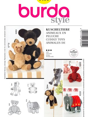 Выкройка BURDA №7904 — Мягкие игрушки: обезьяна, мишка, слон