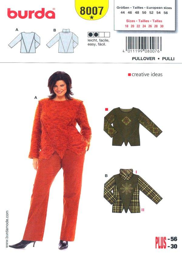 Выкройка BURDA №8007 — Пуловер