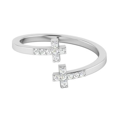 Cross Diamond Ring   LITTLE CROSS RING   14 Kt White Gold
